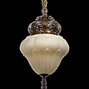 Antique Pendant Light with Fleur-De-Lis, Early 1900s