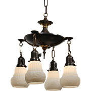 Antique Four-Light Chandelier with Shades, Early 1900s