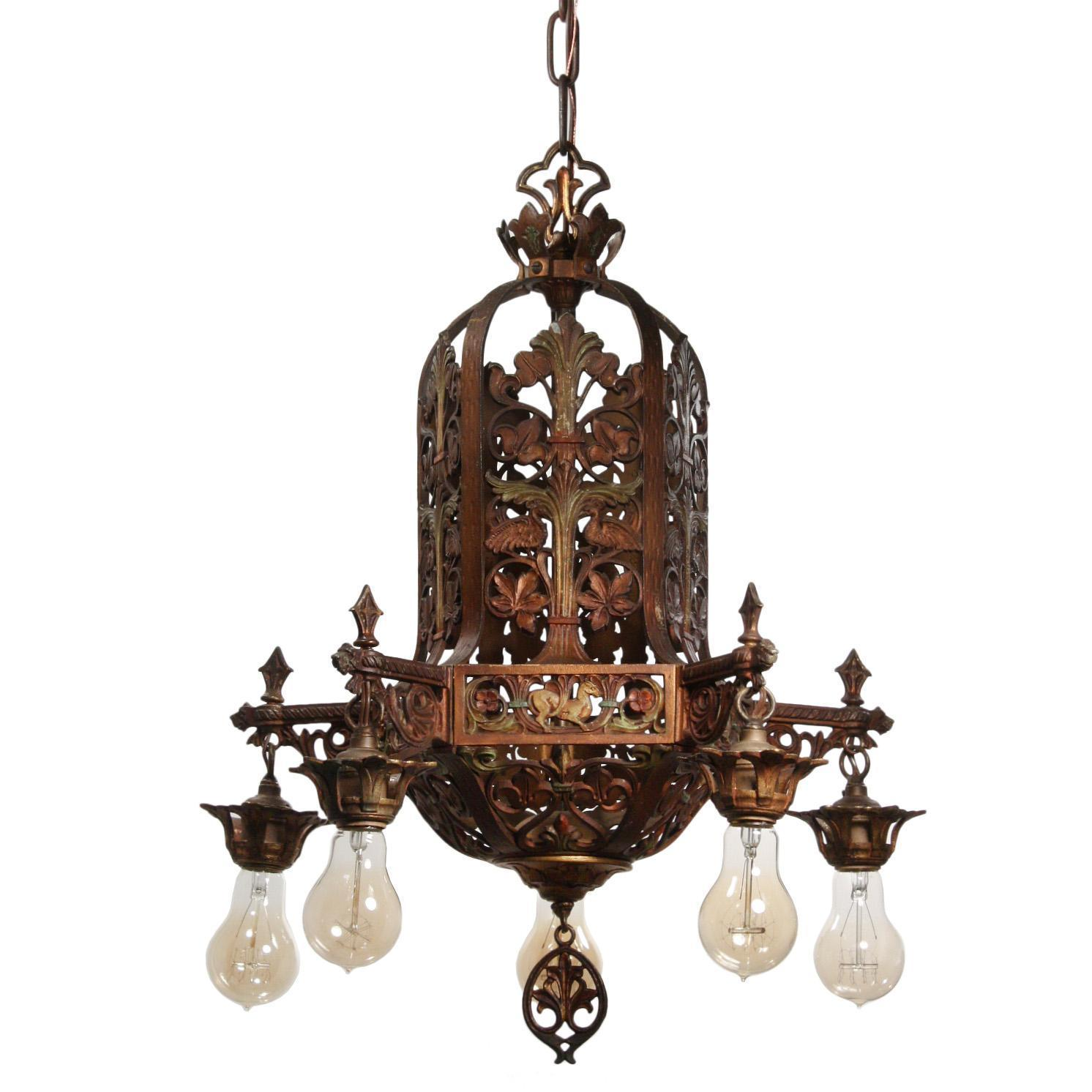 Antique Figural Chandelier with Original Polychrome, Fleur-De-Lis