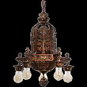 Antique Figural Chandelier with Original Polychrome, Fleur-De-Lis