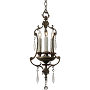 Antique Three-Light Polychrome Pendant with Prisms