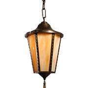 Antique Neoclassical Brass Lantern with Original Slag Glass