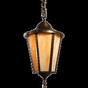 Antique Neoclassical Brass Lantern with Original Slag Glass