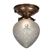 Antique Neoclassical Flush-Mount Light Fixture with Hand-Cut Glass Shade