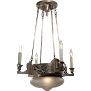 Antique Inverted Dome Chandelier with Wheel Cut Glass Shade