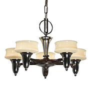 Antique Art Deco Chandelier with Original Sit-In Shades