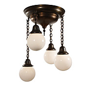 Marvelous Antique Flush-Mount Chandelier with Ball Shades