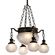 Antique Chandelier with Original Hand-Cut Shades, Early 1900s