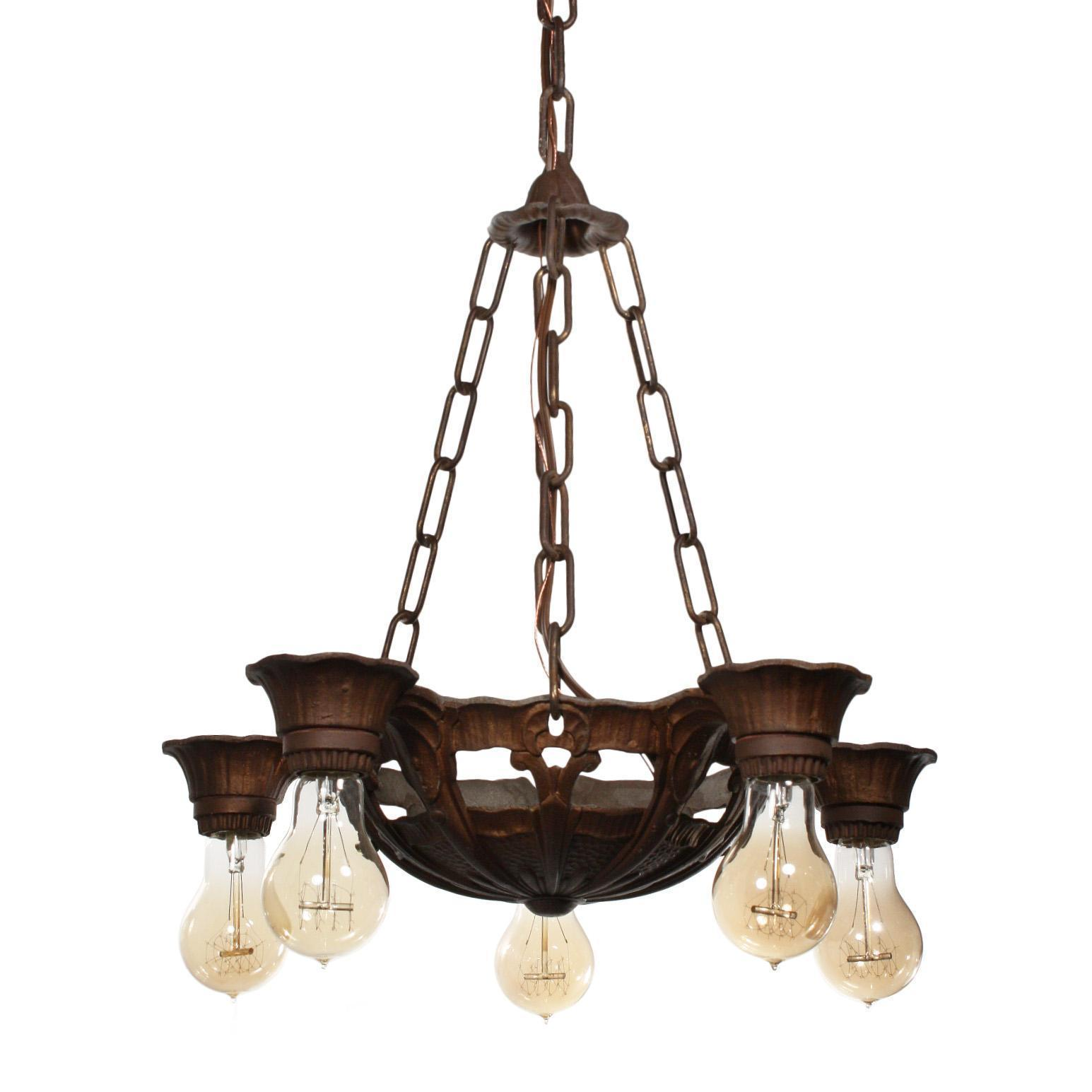 Antique Art Deco Five-Light Chandelier by Lincoln, c.1930