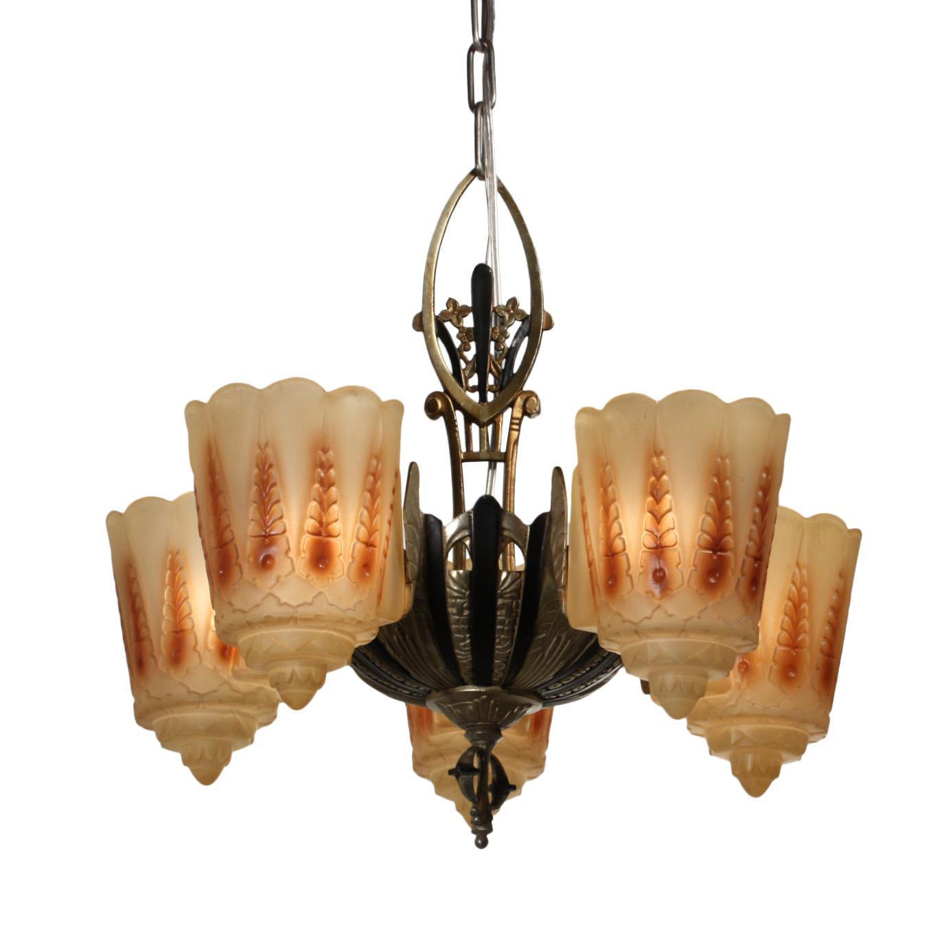 Antique Art Deco Slip Shade Chandelier by Lincoln, c.1920