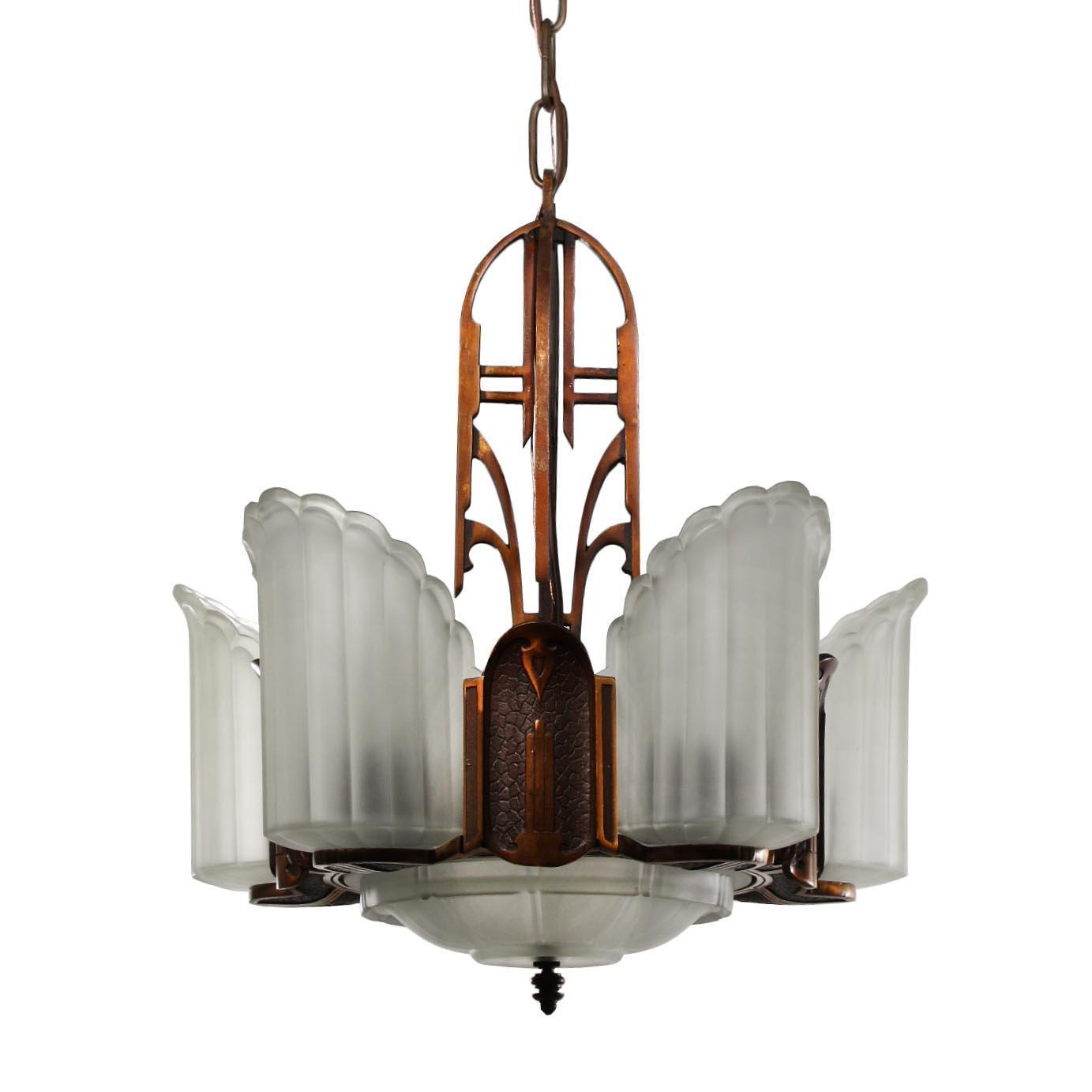 "Antique Art Deco ""Empire"" Bronze Slip Shade Chandeliers by Midwest Manufacturing"