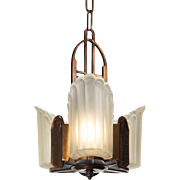 """Antique Art Deco """"Empire"""" Bronze Slip Shade Chandeliers by Midwest Manufacturing"""