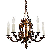 Antique Neoclassical Five-Light Chandelier, Early 1900s