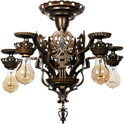 Antique Figural Semi-Flush Mount Chandelier by Isco, c.1920