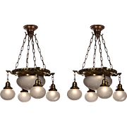 Antique Chandeliers with Original Hand-Cut Shades, Early 1900s
