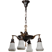 Antique Two-Tone Neoclassical Chandelier with Shades, Early 1900s