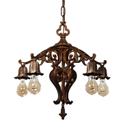 Antique Spanish Revival Cast Iron Chandelier