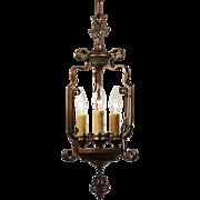Antique Spanish Revival Brass Pendant