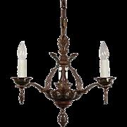 Antique Tudor Chandelier with Original Polychrome