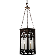 Large Antique Gothic Revival Iron Lantern, Early 1900's
