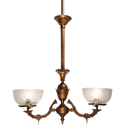 Antique Aesthetic Movement Gas Chandelier with Original Glass Shades, c. 1880