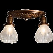 Antique Art Nouveau Flush-Mount Light Fixture with Glass Shades