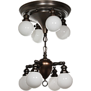 Antique Semi-Flush Chandelier with Ball Shades