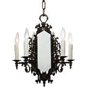 Antique Art Deco Cast Iron Chandelier
