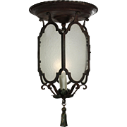 Antique Flush Mount Tudor Lantern with Original Glass, Early 1900s