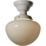 Antique Flush-Mount Schoolhouse Light, Porcelain Fitter
