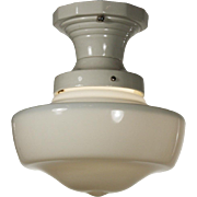 Antique Flush-Mount Schoolhouse Light with Porcelain Fitter