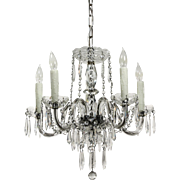 Stunning Antique Five-Light Glass Chandelier with Prisms