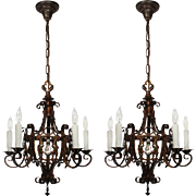 Antique Iron Chandeliers with Prisms