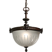 Unusual Antique Figural Inverted Dome Chandelier by Handel