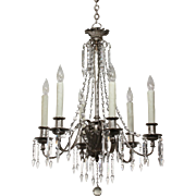 Antique Neoclassical Silver Plate Chandelier with Spear Prisms