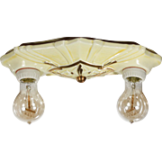 Antique Art Deco Porcelain Two-Light Flush-Mount