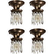 Antique Flush-Mount Lights with Exposed Bulbs and Prisms