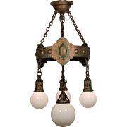 Antique Iron and Brass Chandelier with Ball Shades, Verdigris