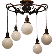 Antique Tudor Semi Flush-Mount Chandelier with Ball Shades