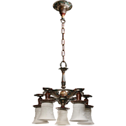 Antique Five-Light Polychrome Chandelier, Signed Riddle Co.
