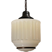 """Unusual Antique Art Deco Pendant Light with Two-Part Shade, 12.5"""" Wide"""