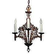 Antique Figural Spanish Revival Chandelier by Champion, Lions