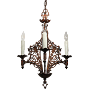 Antique Figural Spanish Revival Chandelier by Champion, Lions