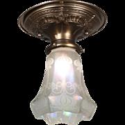 Antique Art Nouveau Flush-Mount Light Fixture