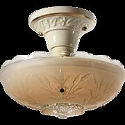 Antique Art Deco Flush Mount with Porcelain Fitter by Porcelier