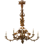 Substantial Antique Figural Gas Chandelier with Cherubs, Late 19th Century