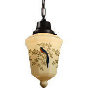 Antique Figural Pendant Light with Hand Painted Shade, Quetzal Birds
