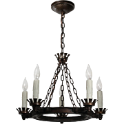 Antique Iron Four-Light Chandelier, Fleur-De-Lis