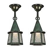 Antique Tudor Flush Mount Lanterns with Verdigris