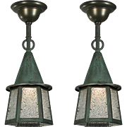 Antique Tudor Flush Mount Lanterns with Verdigris